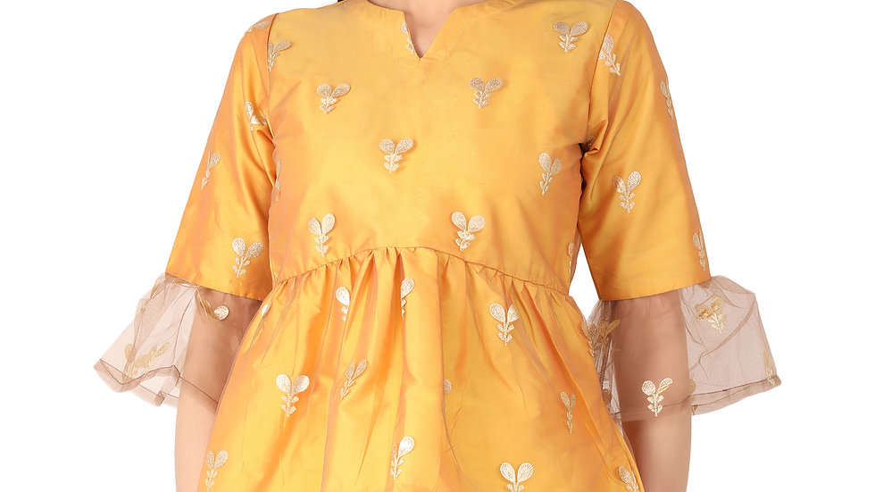 UNFAKENOW  Casual 3/4 Sleeve Floral Printed Women Yellow Net Top