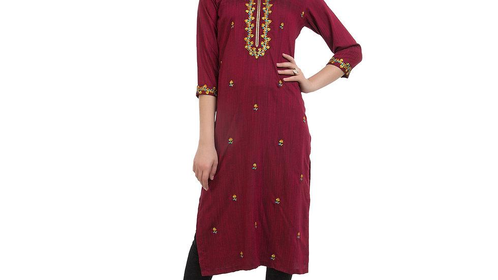 UNFAKENOW  Women Embroidered Cotton Silk Straight Maroon Kurta