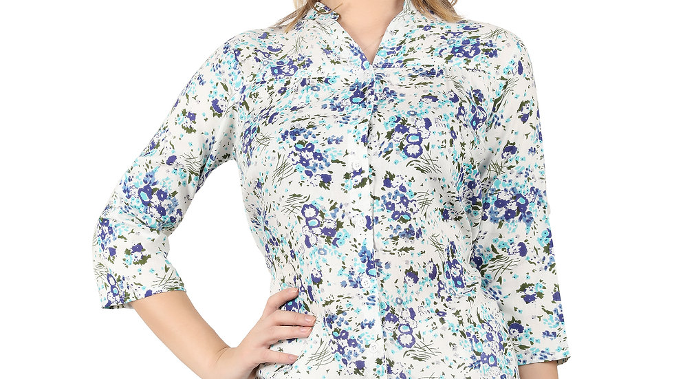 UNFAKENOW Casual 3/4 Sleeve Floral Print Women Cotton Rayon Shirt Style Multicol
