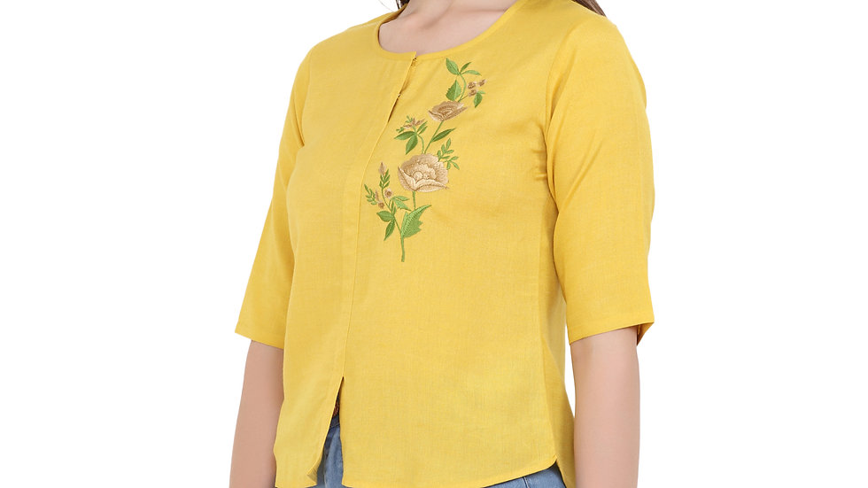 UNFAKENOW  Casual Half Sleeve Embroidered Women Yellow Top