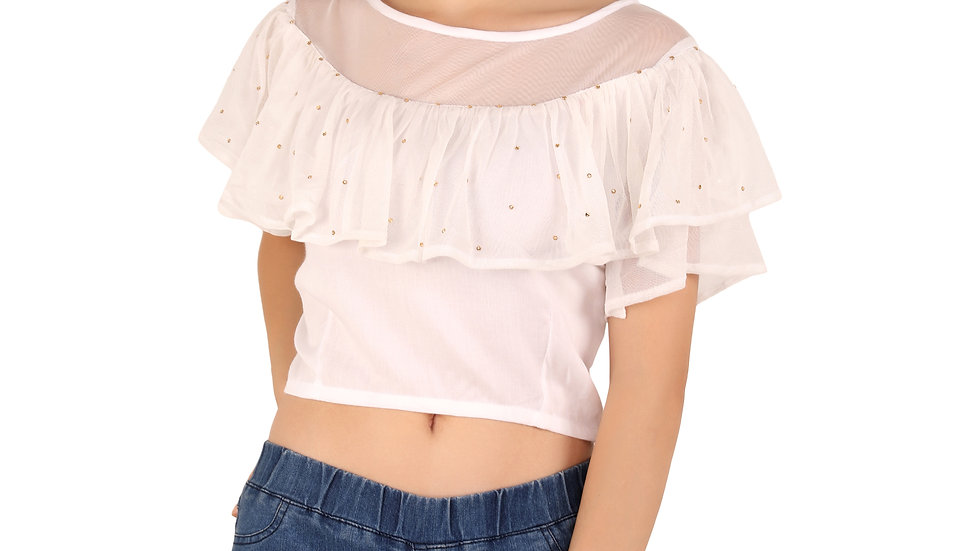 UNFAKENOW  Party Flared Sleeve Pearl Embellished Women White Top