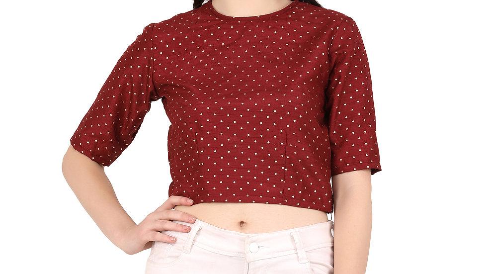 UNFAKENOW  Casual Regular Sleeve Polka Foil Printed Women Maroon Cotton Top