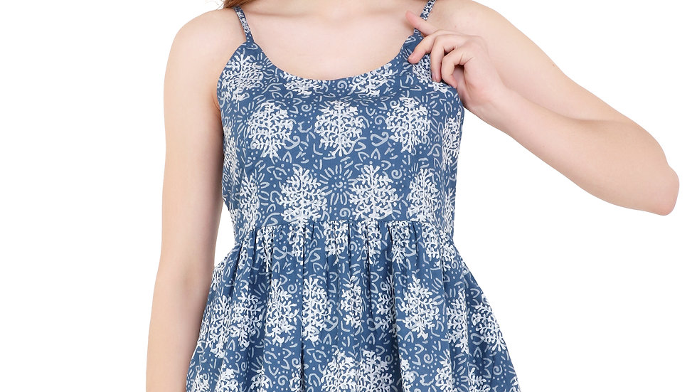 UNFAKENOW  Casual Noodle Strap Printed Women Blue Top