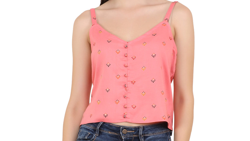 UNFAKENOW  Casual No Sleeve Self Design Women Pink Top