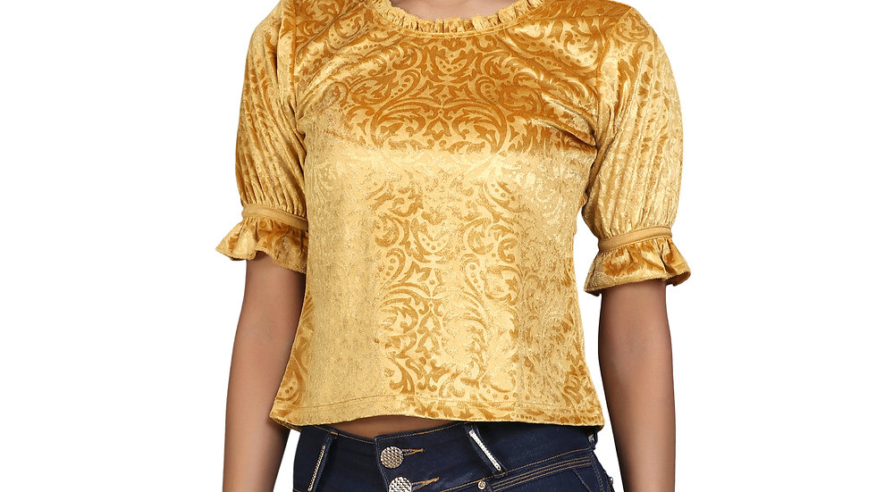 UNFAKENOW  Party Puff Sleeve Floral Print Women Yellow Top