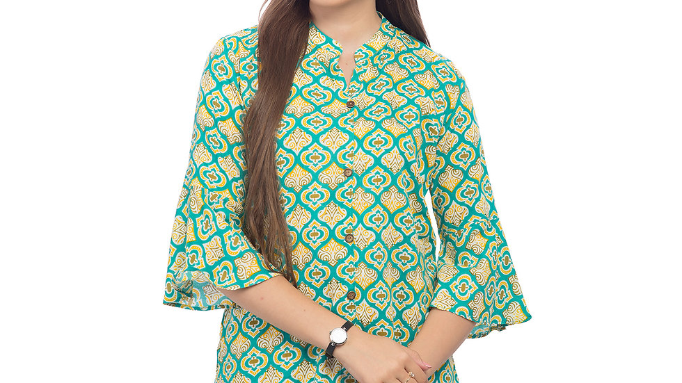 UNFAKENOW  Casual 3/4 Sleeve Paisley Women Light Green Top