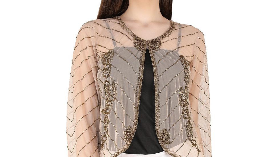 UNFAKENOW  Women Embellished Jacket Style Full Sleeve Beige Shrug