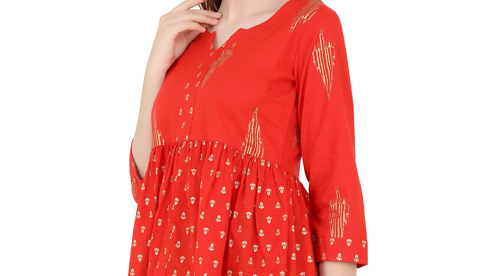 UNFAKENOW  Casual 3/4 Sleeve Printed Women Red Top