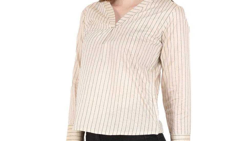 UNFAKENOW  Formal 3/4 Sleeve Striped Women Beige Top