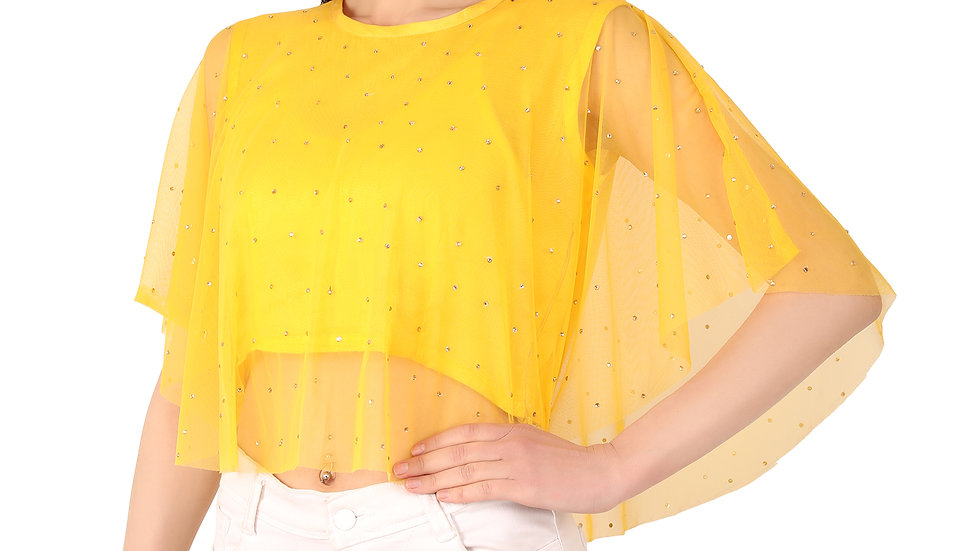 UNFAKENOW  Party No Sleeve Pearl Embellished Women Yellow Crop Top