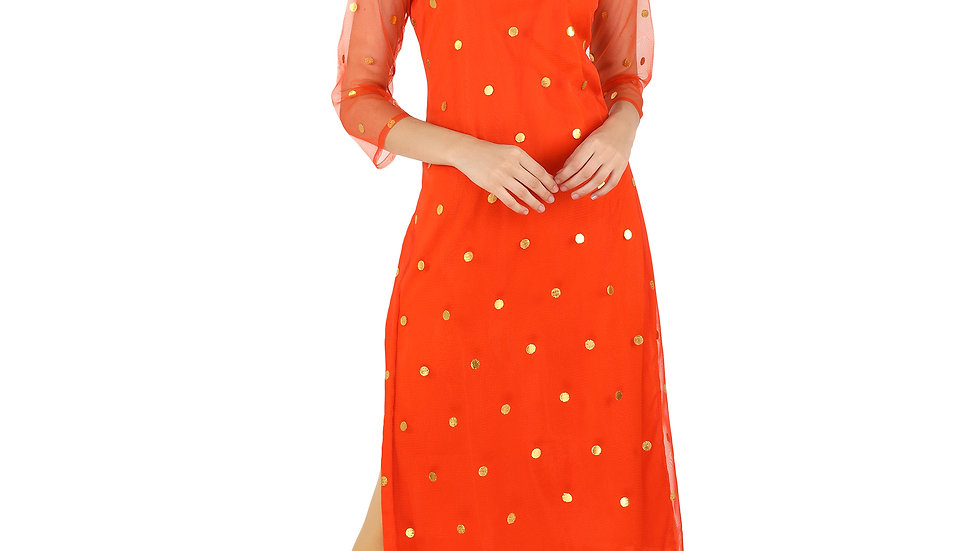 UNFAKENOW  Women Foil printed Net Straight Orange Kurta