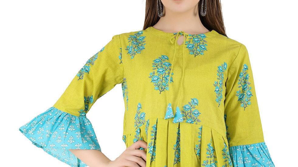 Casual 3/4 Sleeve Floral Printed Women Peplum Green Top