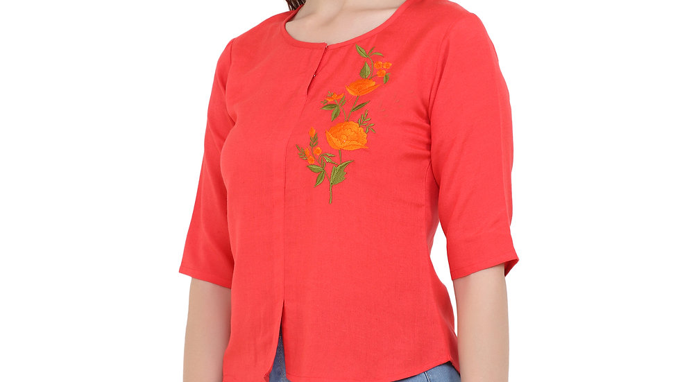 UNFAKENOW  Casual Half Sleeve Embroidered Women Red Top