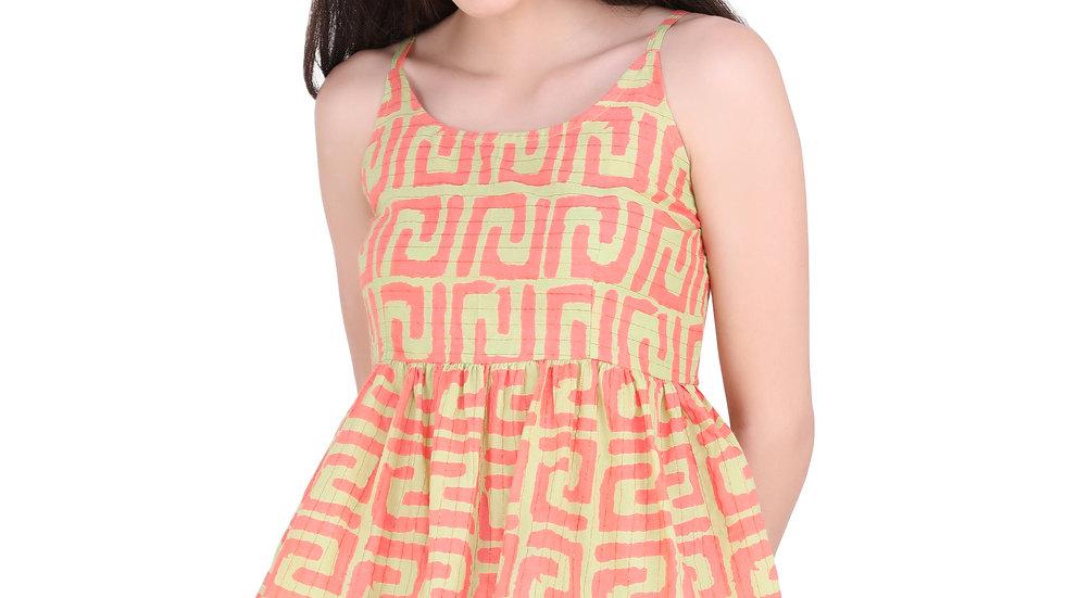 UNFAKENOW  Casual Sleeveless Printed Women Orange, Green  Cotton Top