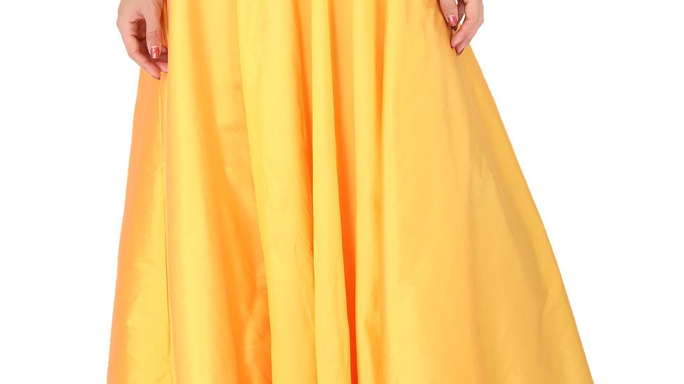 UNFAKENOW  Women Solid Flared Yellow Cotton Skirt