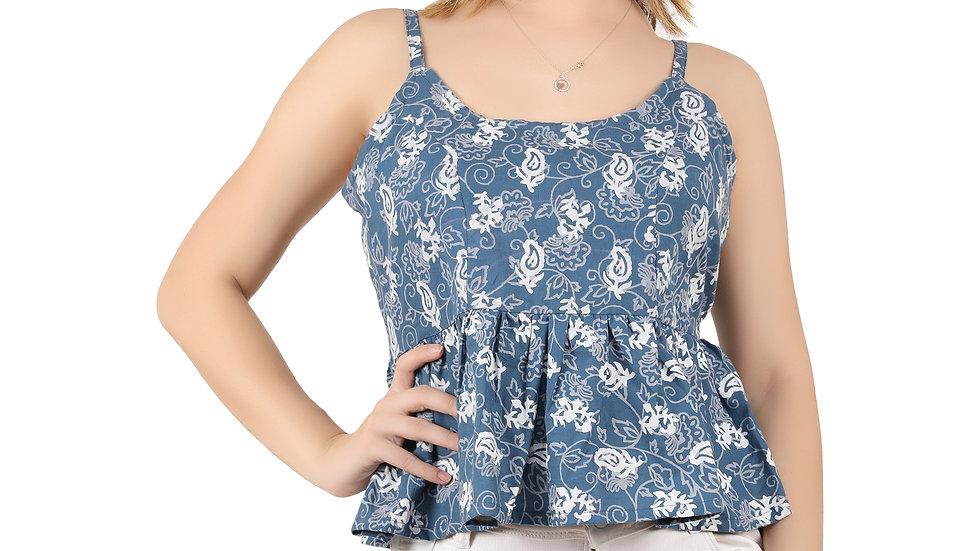 UNFAKENOW Casual No Sleeve Floral Print Women Cotton Blend Cami Blue Top