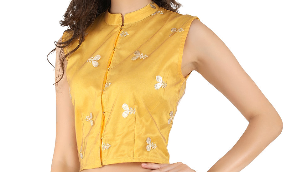 UNFAKENOW  Party No Sleeve Floral Print Women Yellow Crop  Top