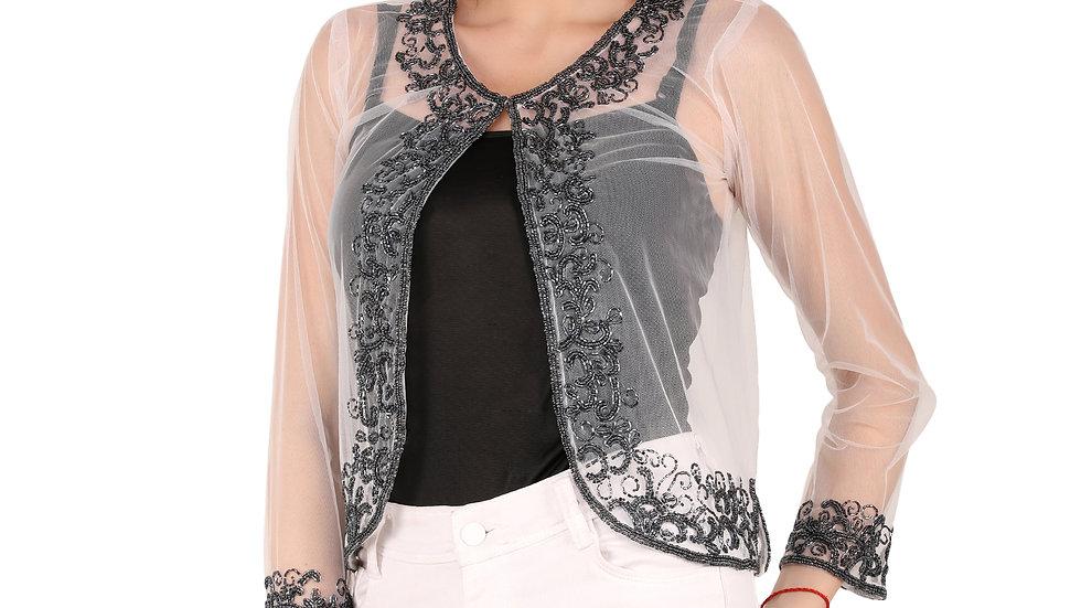 UNFAKENOW  Women Jacket Style Full Sleeve White Embellished Net Shrug