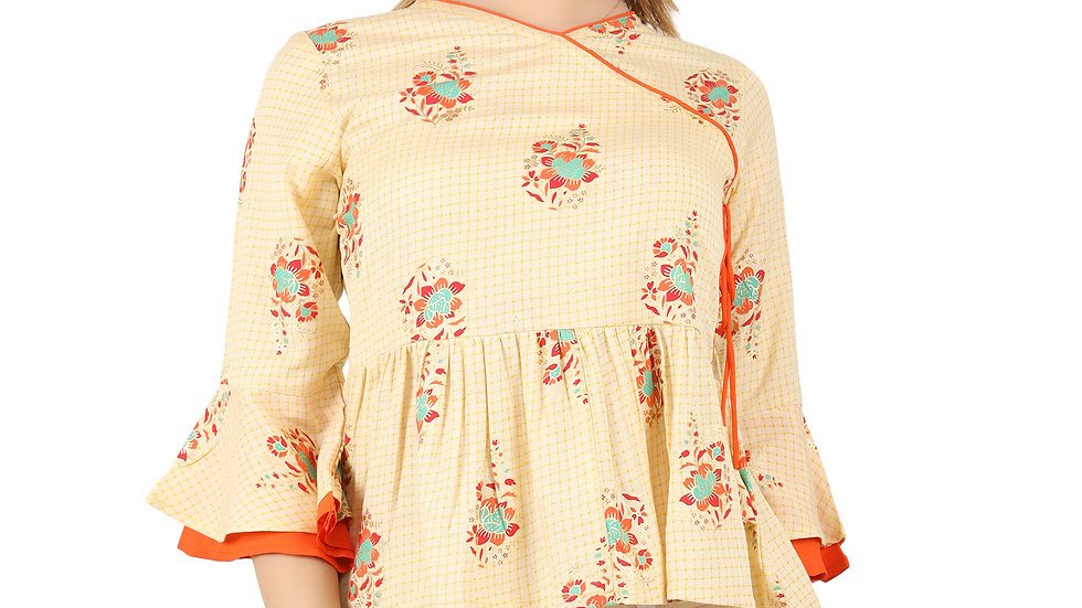 UNFAKENOW Casual Bell Sleeve Floral Print Women Cotton Blend Peplum Yellow Top