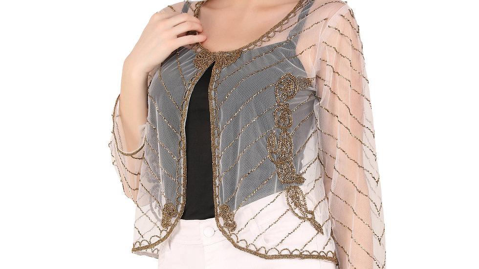 Women Jacket Style Full Sleeve White Embellished Net  Shrug