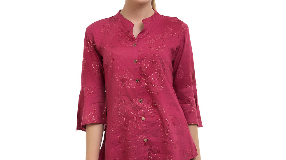 UNFAKENOW  Casual 3/4 Sleeve Floral Print Women Red Top