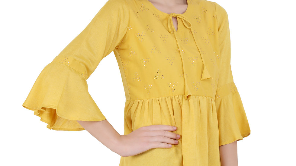 UNFAKENOW  Casual Bell Sleeve Embellished Women Yellow Top