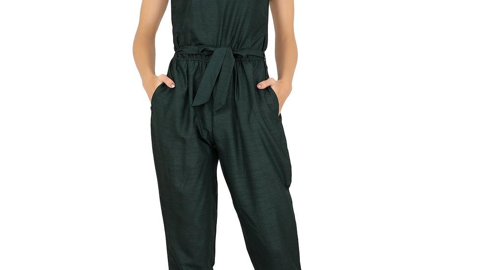 UNFAKENOW  Solid Women Dark Green Cotton Jumpsuit