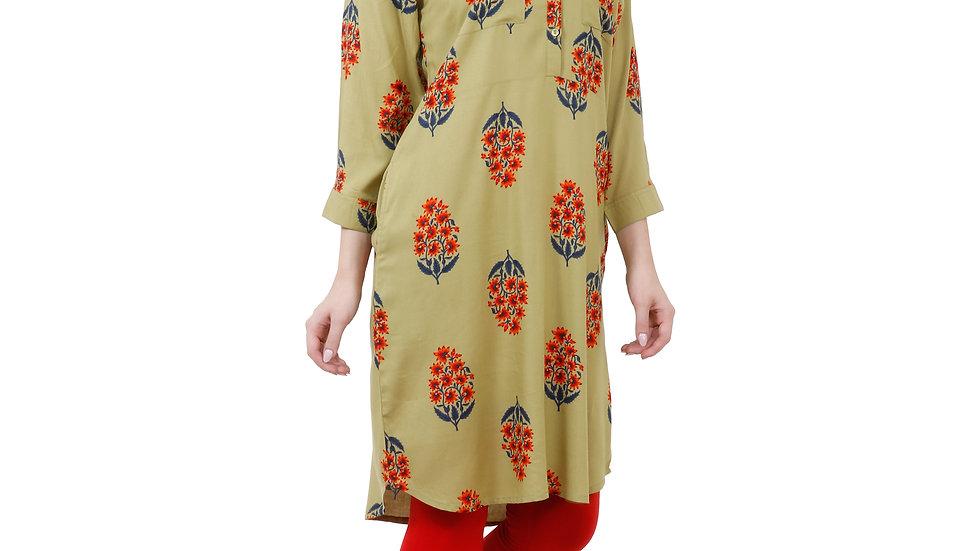 UNFAKENOW  Floral Print Women Green Tunic