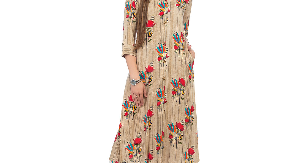 UNFAKENOW  Women Floral Print Cotton Blend A-line Beige Kurta