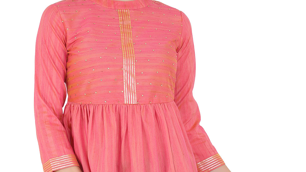 UNFAKENOW  Casual 3/4 Sleeve Embellished Women Pink Top