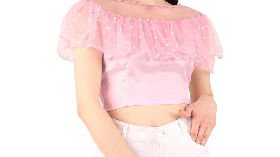 UNFAKENOW  Party Flared Short Sleeve Pearl  Embellished Women Pink Top