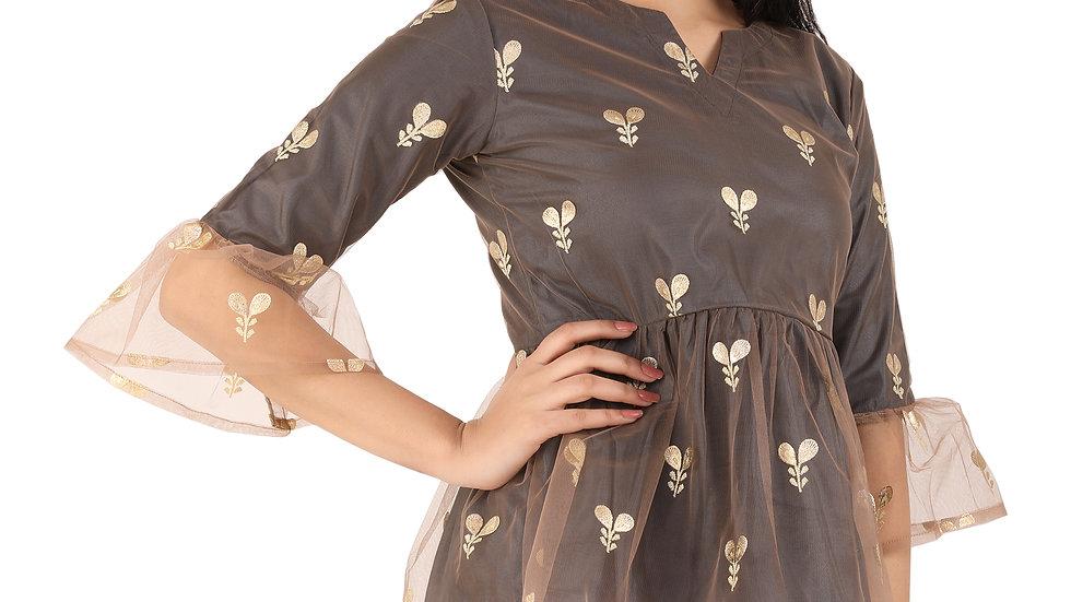 UNFAKENOW  Casual 3/4 Sleeve Floral Net Printed Women Black Top