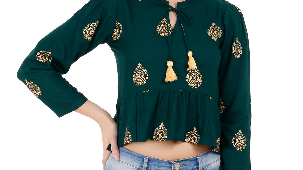 UNFAKENOW  Casual 3/4 Sleeve Floral Print Women Dark Green Top