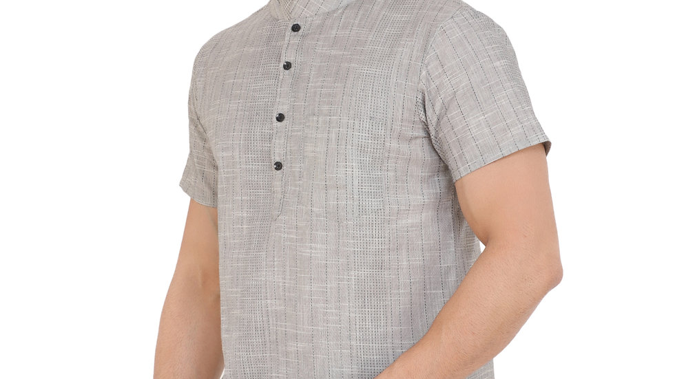UNFAKENOW  Men Striped Khadi Cotton Straight Kurta  (Grey)