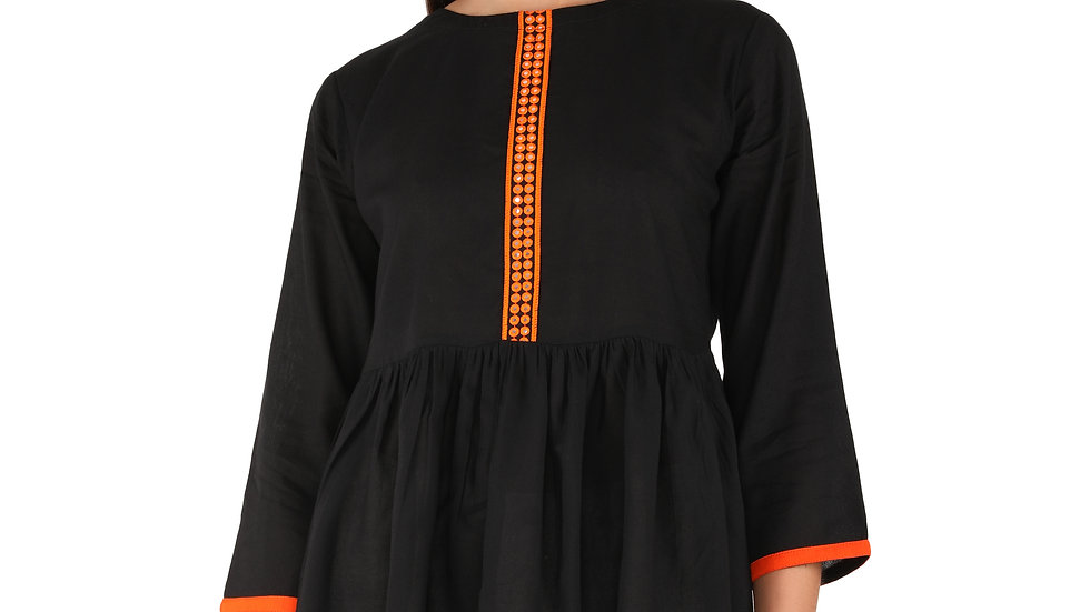 UNFAKENOW  Casual Cuffed Sleeve Mirror Embroidered Women Black Rayon Top