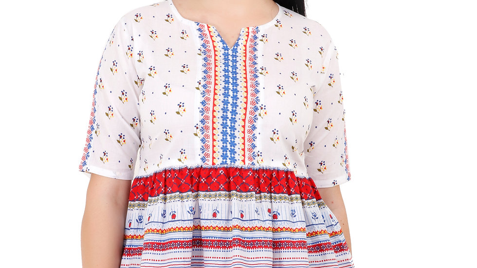 UNFAKENOW  Casual Sleeve Floral Print Women White Top