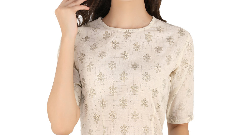 UNFAKENOW  Party Regular Sleeve Floral Print Women White Crop Top