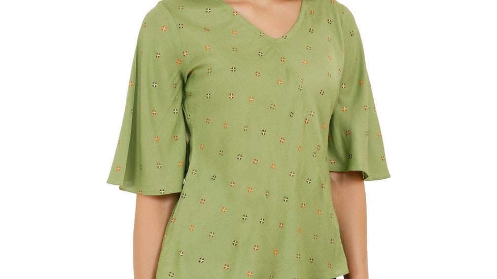 UNFAKENOW  Casual Flared Sleeve Printed Women Dark Green Top