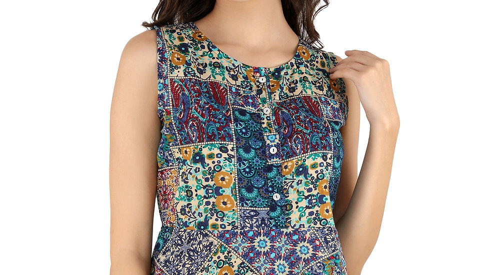 UNFAKENOW  Casual No Sleeve Floral Print Women Multicolor  Rayon Top