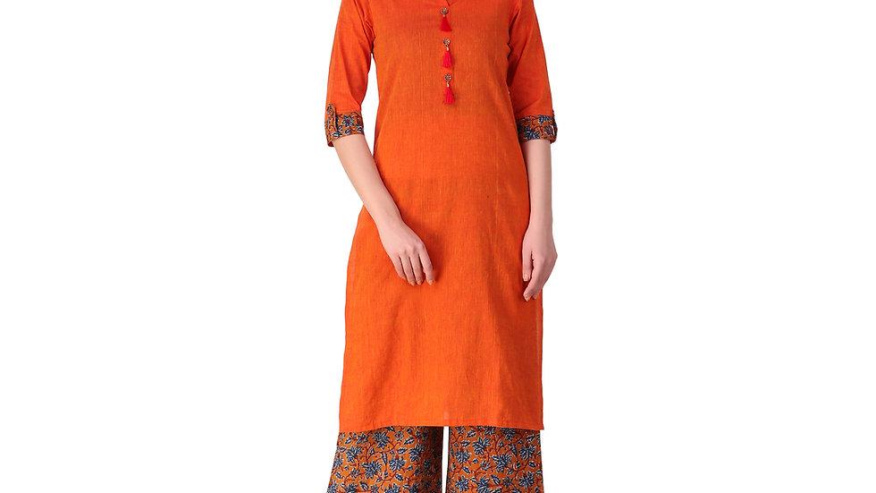 UNFAKENOW  Women Orange Kurta and Palazzo Set Cotton Blend