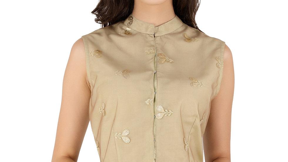 UNFAKENOW  Party Sleeveless Floral Print Women Light Green Crop Top