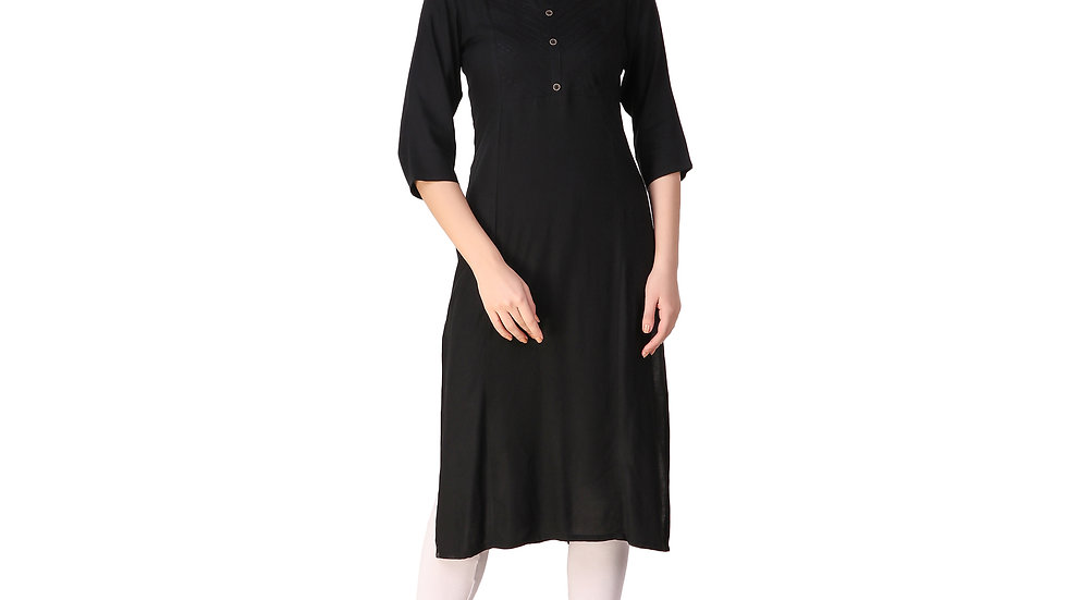 UNFAKENOW  Women Embroidered Cotton Blend Straight Black Kurta