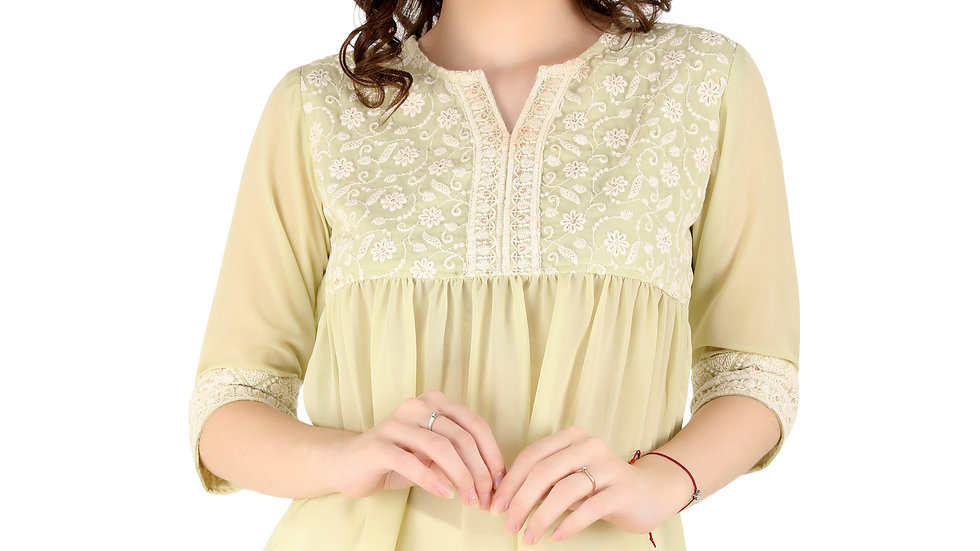 UNFAKENOW Formal Cuffed Sleeve Embroidered Women Light Green Cotton Top