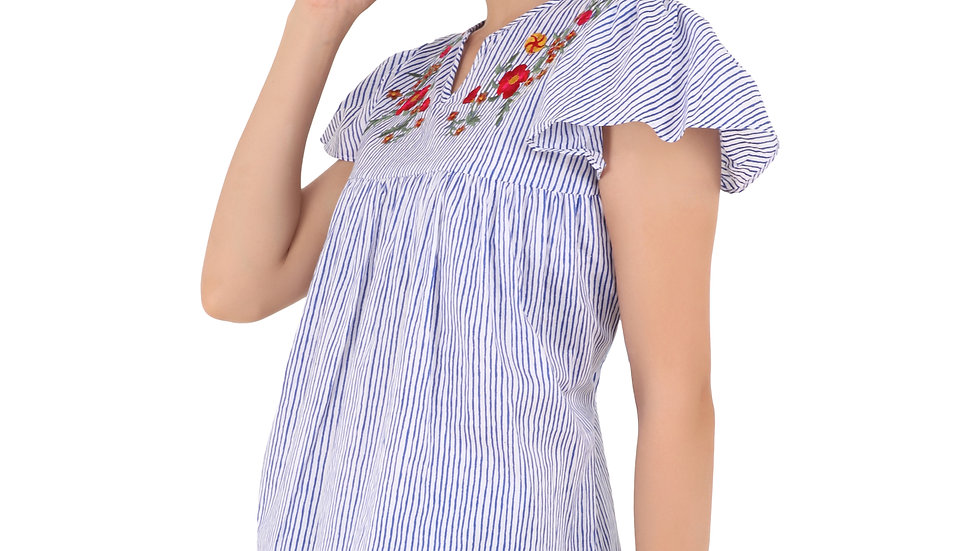 UNFAKENOW  Casual Flutter Sleeve Striped, Embroidered Women Multicolor Top