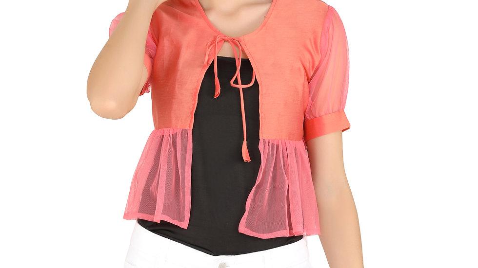 UNFAKENOW  Women Jacket Style Half Sleeve Solid Cotton Net Orange Shrug