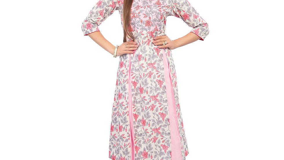 UNFAKENOW  Women Floral Print Cotton Blend A-line Pink Kurta