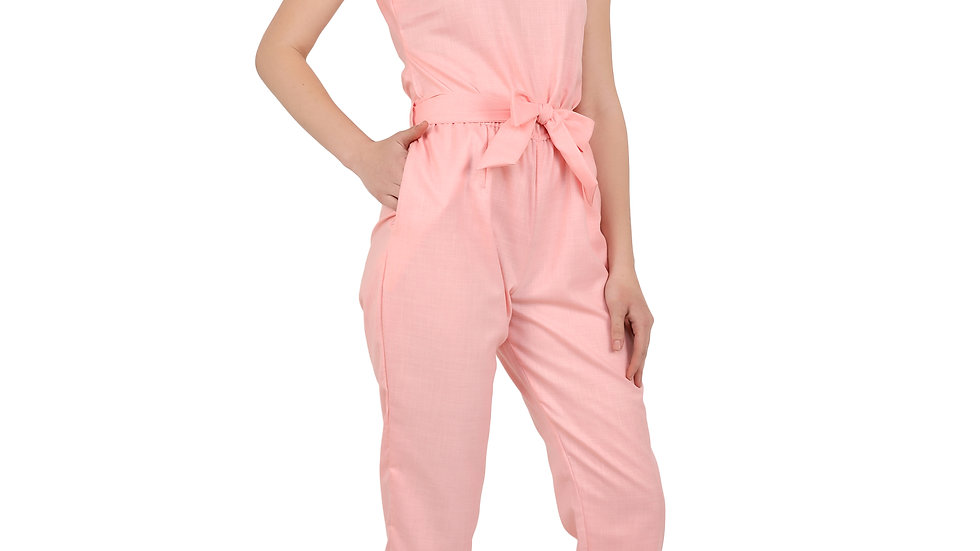UNFAKENOW  Solid Women Cotton Blend Pink  Jumpsuit