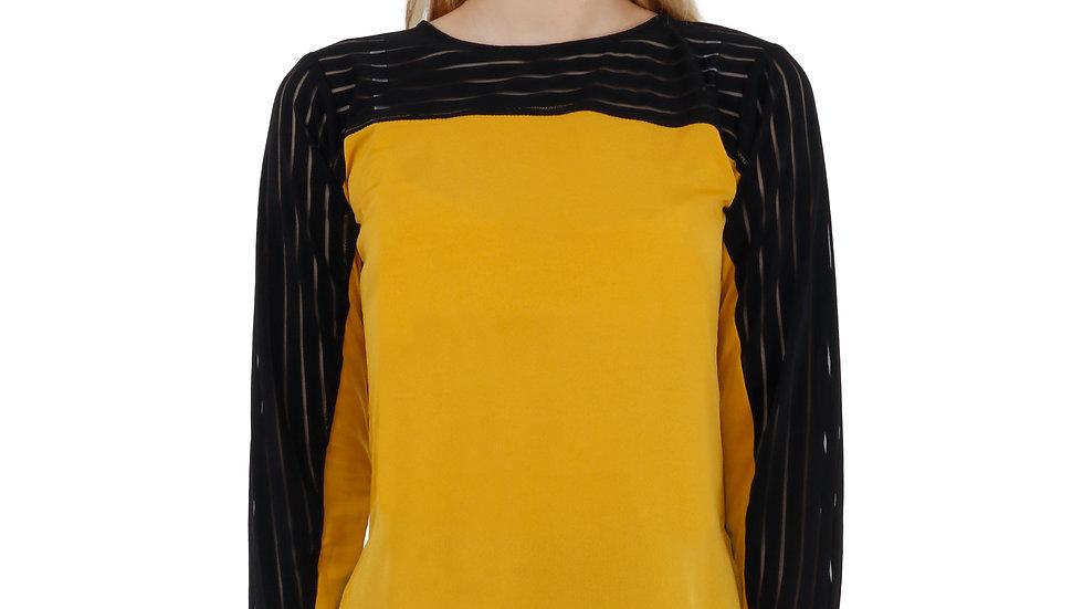 UNFAKENOW  Casual Regular Sleeve Solid Women Mustard Top