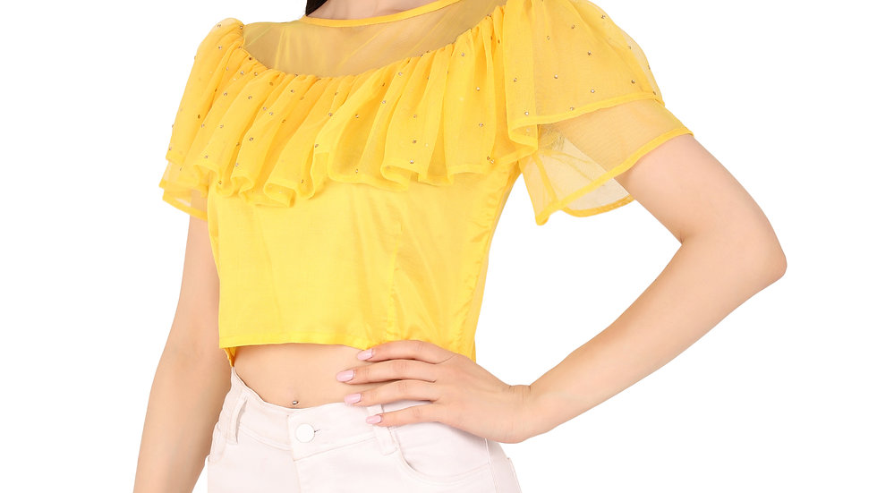UNFAKENOW  Party Flared Short Sleeve Pearl  Embellished Women Yellow Top