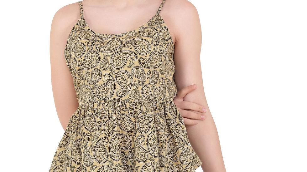 UNFAKENOW  Beach Wear Sleeveless Floral Print Women Brown Top